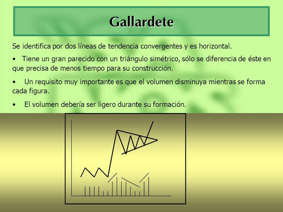 Gallardete Se identifica por dos líneas de tendencia convergentes y es horizontal. Tiene un gran parecido con un triángulo simétrico, sólo se diferenc