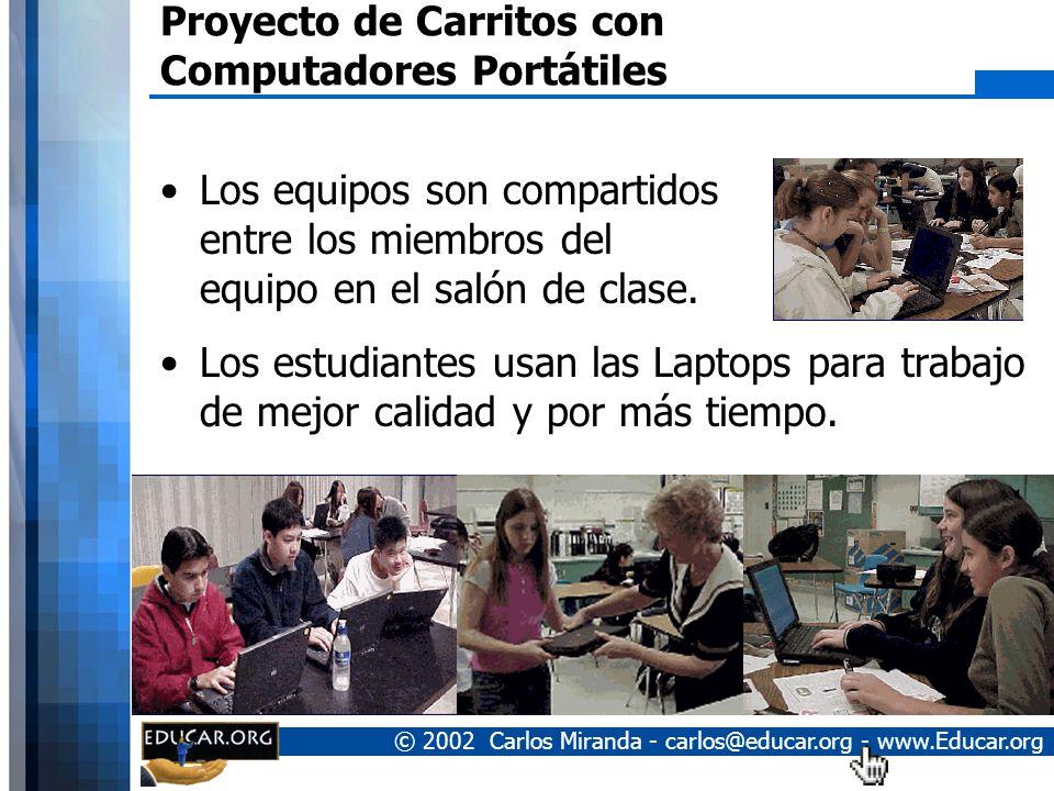 © 2002 Carlos Miranda - carlos@educar.org - www.Educar.org Proyecto de Carritos con Computadores Portátiles Uso de tarjetas de red inalámbricas. Se in