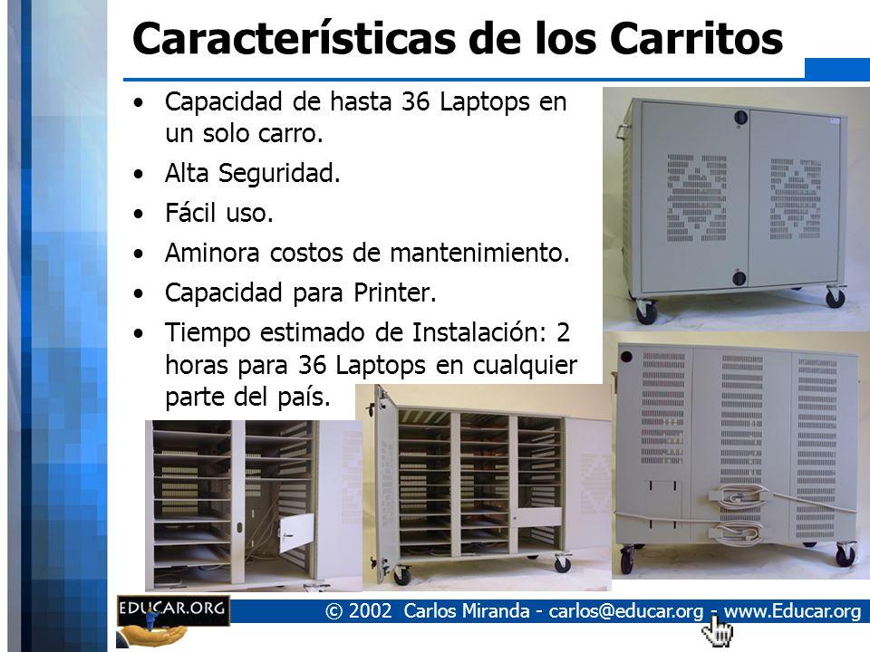 © 2002 Carlos Miranda - carlos@educar.org - www.Educar.org Proyecto de Carritos con Computadores Portátiles Los equipos son compartidos entre los miem