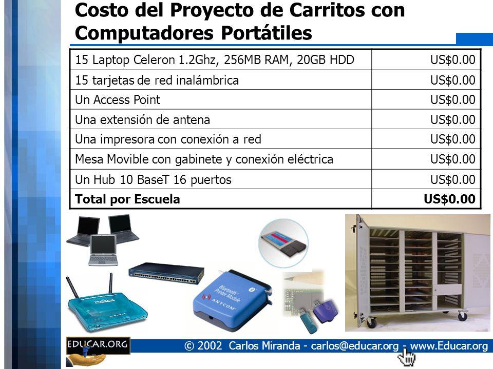 © 2002 Carlos Miranda - carlos@educar.org - www.Educar.org Características de los Carritos Carritos contentivos de 15 a 36 computadoras. No se requier