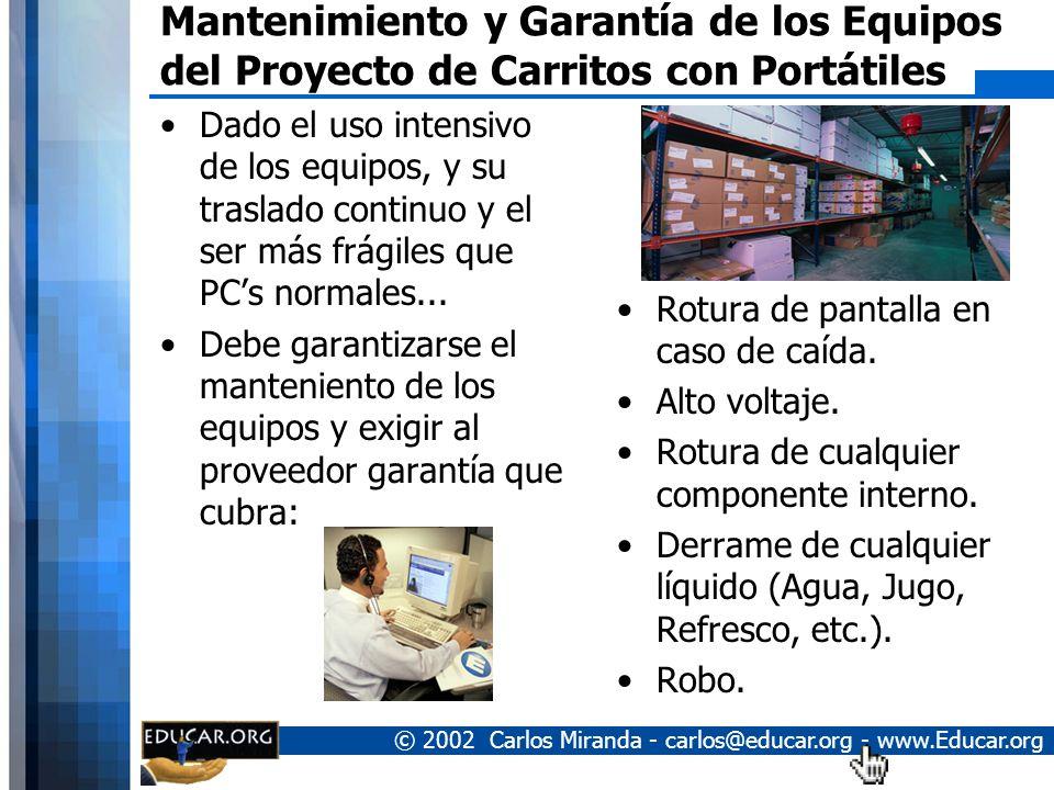 © 2002 Carlos Miranda - carlos@educar.org - www.Educar.org Costo del Proyecto de Carritos con Computadores Portátiles 15 Laptop Celeron 1.2Ghz, 256MB