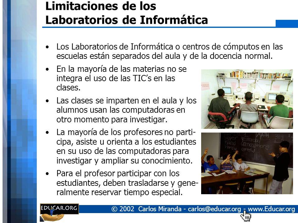 © 2002 Carlos Miranda - carlos@educar.org - www.Educar.org Limitaciones de los Laboratorios de Informática Los Laboratorios de Informática o centros de cómputos en las escuelas están separados del aula y de la docencia normal.