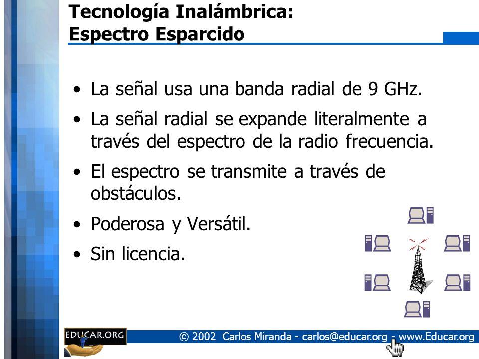 © 2002 Carlos Miranda - carlos@educar.org - www.Educar.org Tecnología Inalámbrica: Espectro Esparcido La señal usa una banda radial de 9 GHz.