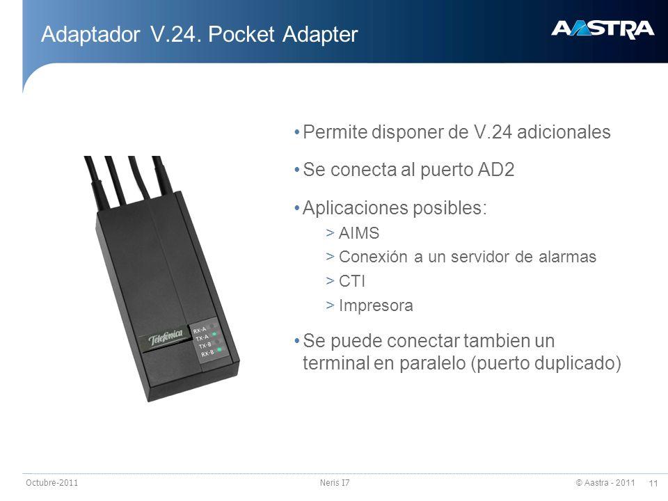 © Aastra - 2011 11 Octubre-2011Neris I7 Adaptador V.24. Pocket Adapter Permite disponer de V.24 adicionales Se conecta al puerto AD2 Aplicaciones posi