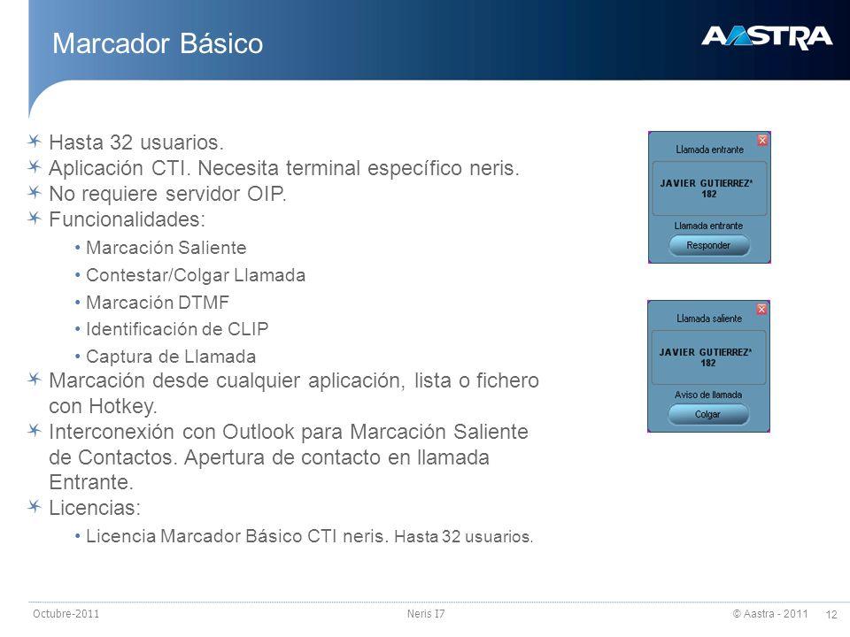© Aastra - 2011 12 Octubre-2011Neris I7 Marcador Básico Hasta 32 usuarios. Aplicación CTI. Necesita terminal específico neris. No requiere servidor OI