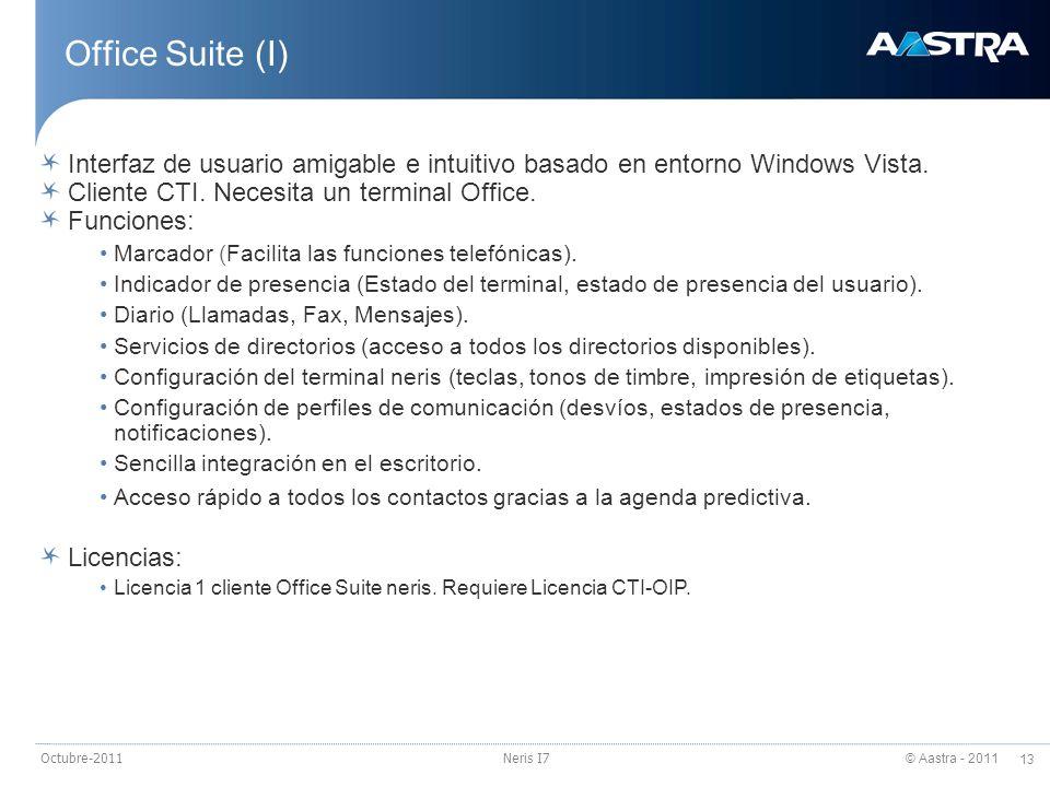 © Aastra - 2011 13 Octubre-2011Neris I7 Office Suite (I) Interfaz de usuario amigable e intuitivo basado en entorno Windows Vista. Cliente CTI. Necesi