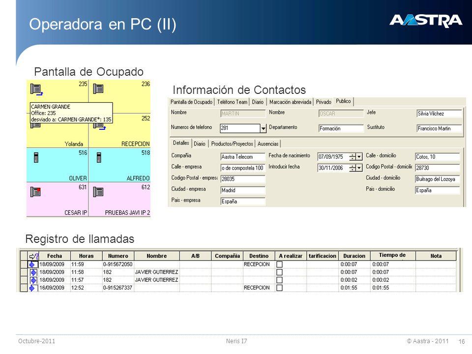 © Aastra - 2011 16 Octubre-2011Neris I7 Operadora en PC (II) Registro de llamadas Información de Contactos Pantalla de Ocupado