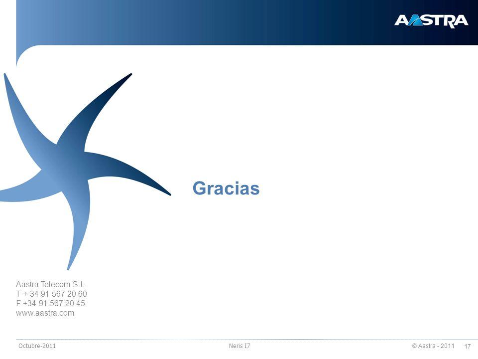 © Aastra - 2011 17 Octubre-2011Neris I7 Aastra Telecom S.L. T + 34 91 567 20 60 F +34 91 567 20 45 www.aastra.com Gracias