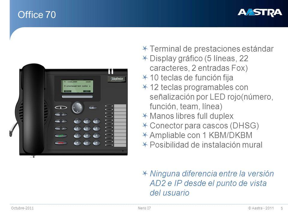 © Aastra - 2011 5 Octubre-2011Neris I7 Office 70 Terminal de prestaciones estándar Display gráfico (5 líneas, 22 caracteres, 2 entradas Fox) 10 teclas