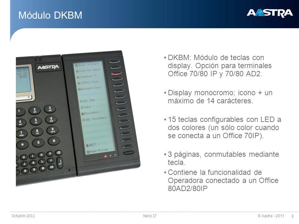 © Aastra - 2011 8 Octubre-2011Neris I7 Módulo DKBM DKBM: Módulo de teclas con display. Opción para terminales Office 70/80 IP y 70/80 AD2. Display mon
