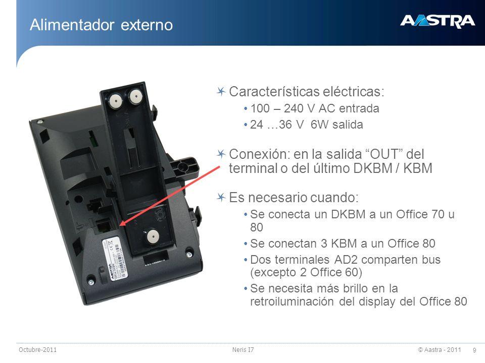 © Aastra - 2011 9 Octubre-2011Neris I7 Alimentador externo Características eléctricas: 100 – 240 V AC entrada 24 …36 V 6W salida Conexión: en la salid