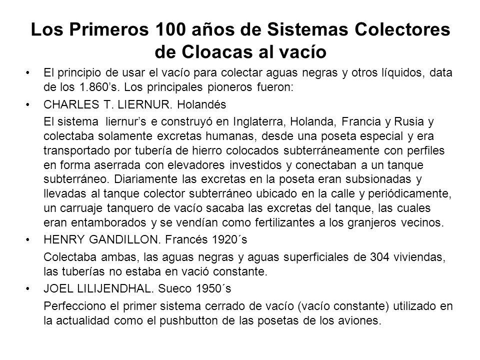 Los Primeros 100 años de Sistemas Colectores de Cloacas al vacío El principio de usar el vacío para colectar aguas negras y otros líquidos, data de lo