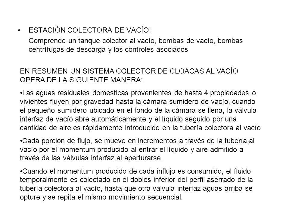 ESTACIÓN COLECTORA DE VACÍO: Comprende un tanque colector al vacío, bombas de vacío, bombas centrífugas de descarga y los controles asociados EN RESUM