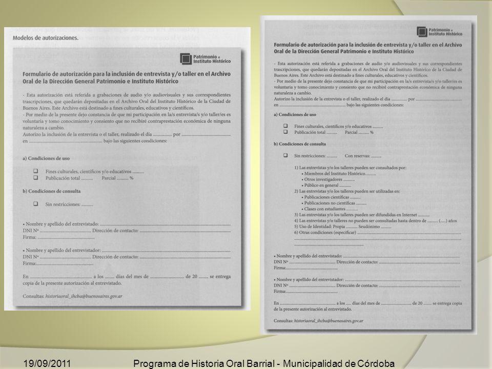 Programa de Historia Oral Barrial - Municipalidad de Córdoba19/09/2011