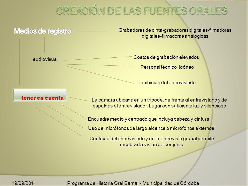 Costos de grabación elevados audiovisual Personal técnico idóneo Programa de Historia Oral Barrial - Municipalidad de Córdoba19/09/2011 Grabadores de