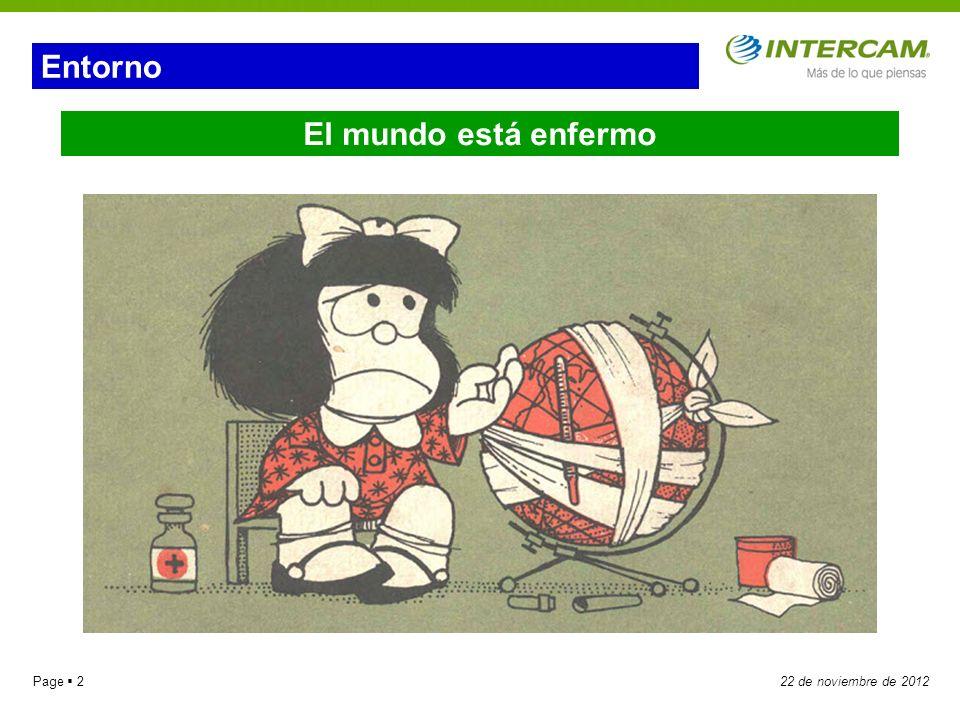 Page 322 de noviembre de 2012 Los Dolores de Cabeza Son dos los temas principales que preocupan a todos: Aversión al riesgo 1 2 Crisis de deuda de la Zona Euro.