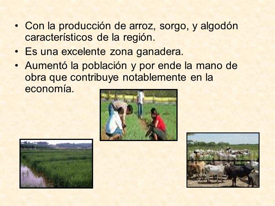 Con la producción de arroz, sorgo, y algodón característicos de la región. Es una excelente zona ganadera. Aumentó la población y por ende la mano de