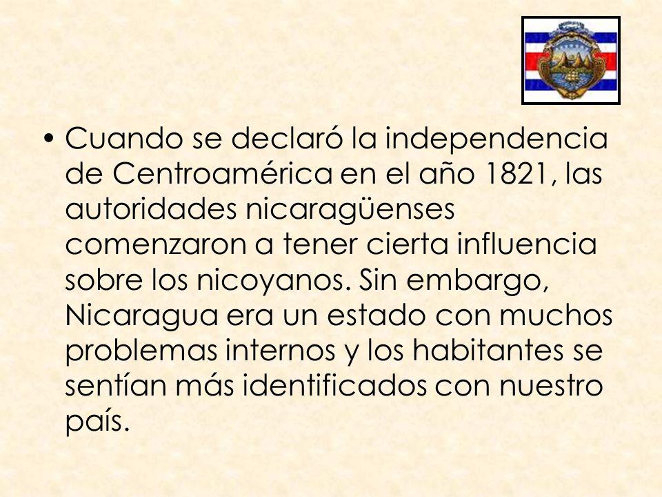 Cuando se declaró la independencia de Centroamérica en el año 1821, las autoridades nicaragüenses comenzaron a tener cierta influencia sobre los nicoy