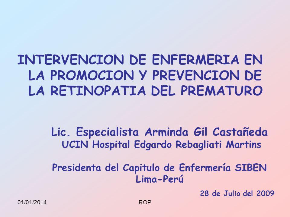 Lic. Especialista Arminda Gil Castañeda UCIN Hospital Edgardo Rebagliati Martins Presidenta del Capitulo de Enfermería SIBEN Lima-Perú INTERVENCION DE