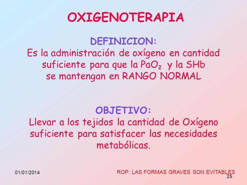 DEFINICION: Es la administración de oxígeno en cantidad suficiente para que la PaO 2 y la SHb se mantengan en RANGO NORMAL OBJETIVO: Llevar a los teji