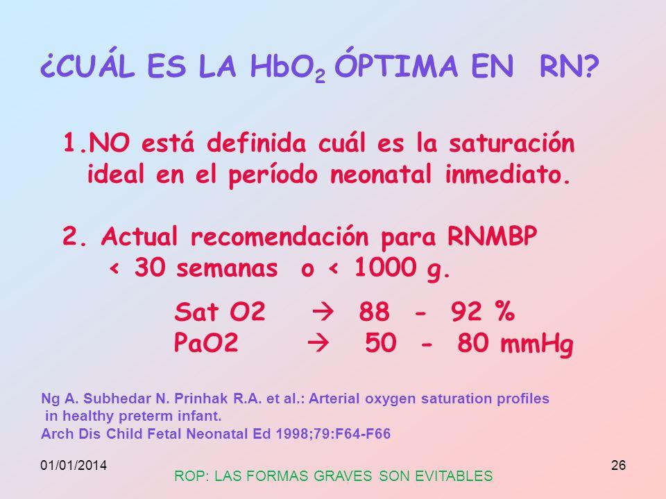 ¿CUÁL ES LA HbO 2 ÓPTIMA EN RN? 1.NO está definida cuál es la saturación ideal en el período neonatal inmediato. 2. Actual recomendación para RNMBP <