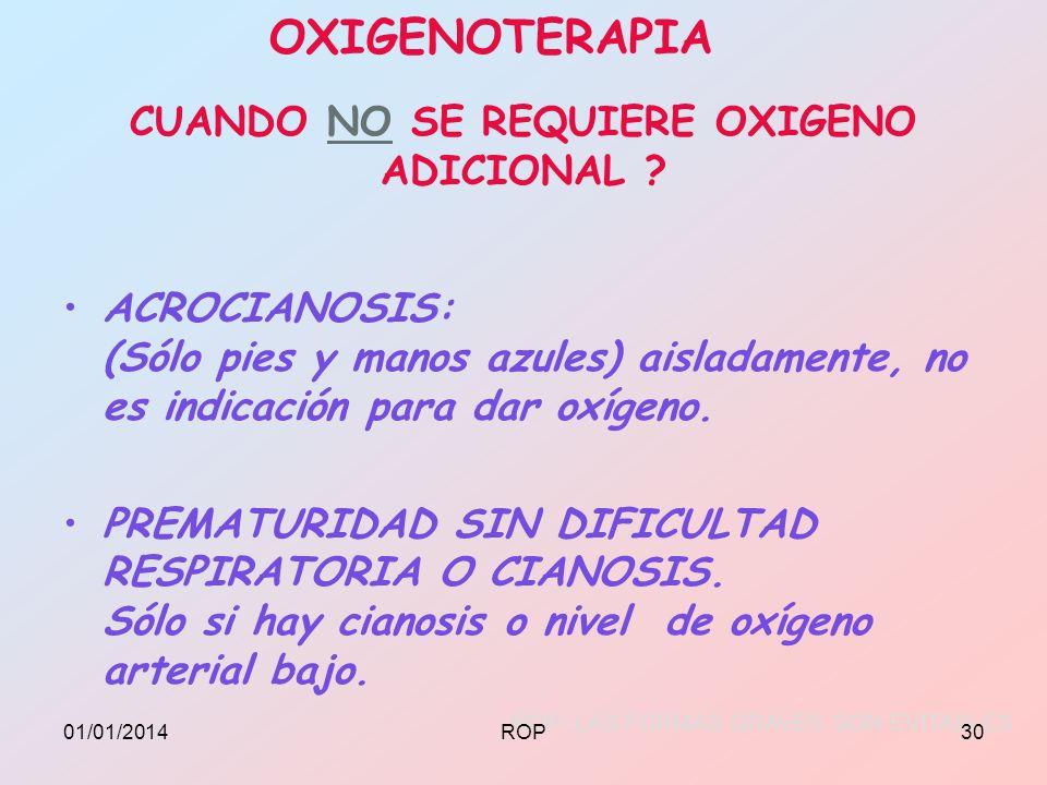 CUANDO NO SE REQUIERE OXIGENO ADICIONAL ? ACROCIANOSIS: (Sólo pies y manos azules) aisladamente, no es indicación para dar oxígeno. PREMATURIDAD SIN D