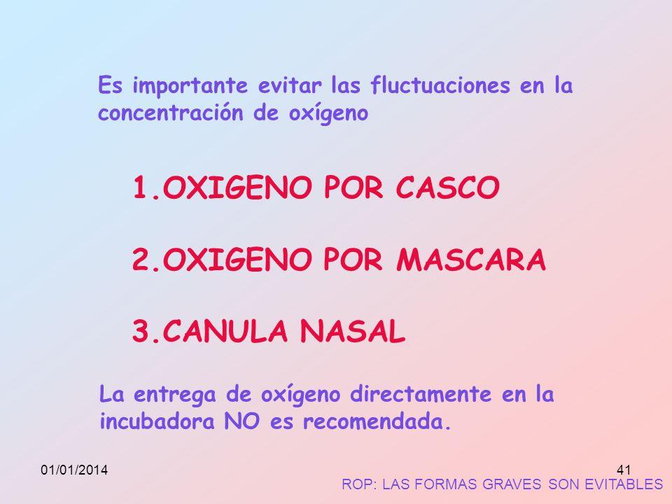 Es importante evitar las fluctuaciones en la concentración de oxígeno 1.OXIGENO POR CASCO 2.OXIGENO POR MASCARA 3.CANULA NASAL La entrega de oxígeno d