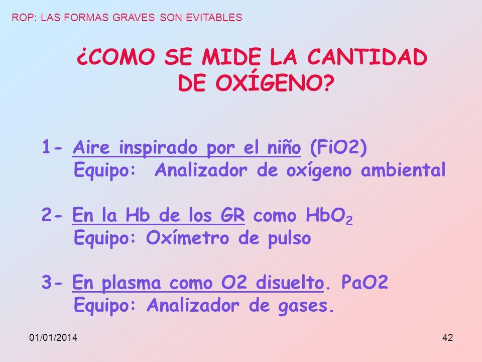¿COMO SE MIDE LA CANTIDAD DE OXÍGENO? 1- Aire inspirado por el niño (FiO2) Equipo: Analizador de oxígeno ambiental 2- En la Hb de los GR como HbO 2 Eq