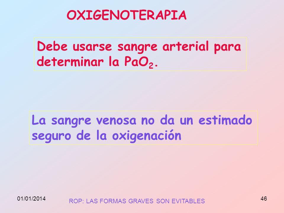 OXIGENOTERAPIA Debe usarse sangre arterial para determinar la PaO 2. La sangre venosa no da un estimado seguro de la oxigenación ROP: LAS FORMAS GRAVE