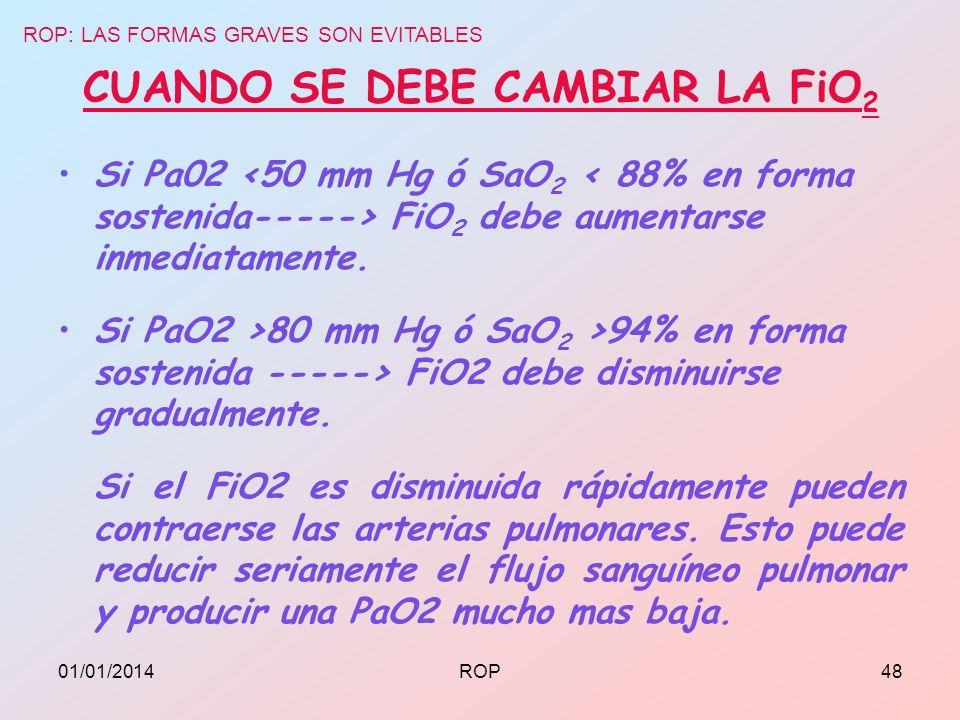 CUANDO SE DEBE CAMBIAR LA FiO 2 Si Pa02 FiO 2 debe aumentarse inmediatamente. Si PaO2 >80 mm Hg ó SaO 2 >94% en forma sostenida -----> FiO2 debe dismi