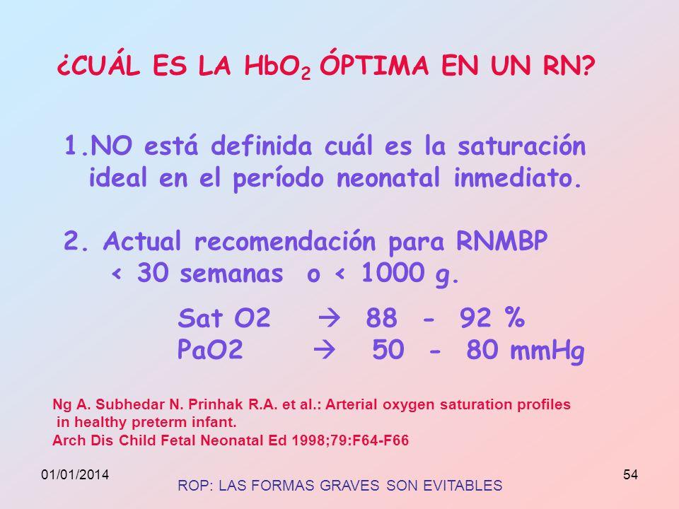 ¿CUÁL ES LA HbO 2 ÓPTIMA EN UN RN? 1.NO está definida cuál es la saturación ideal en el período neonatal inmediato. 2. Actual recomendación para RNMBP