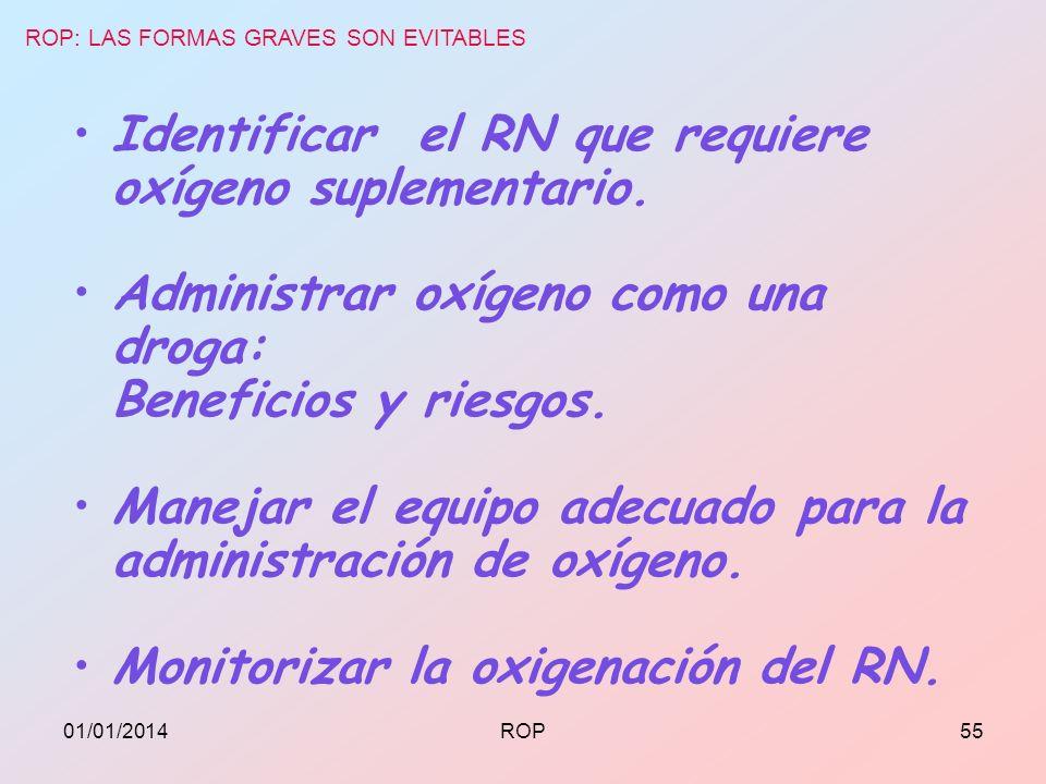 Identificar el RN que requiere oxígeno suplementario. Administrar oxígeno como una droga: Beneficios y riesgos. Manejar el equipo adecuado para la adm