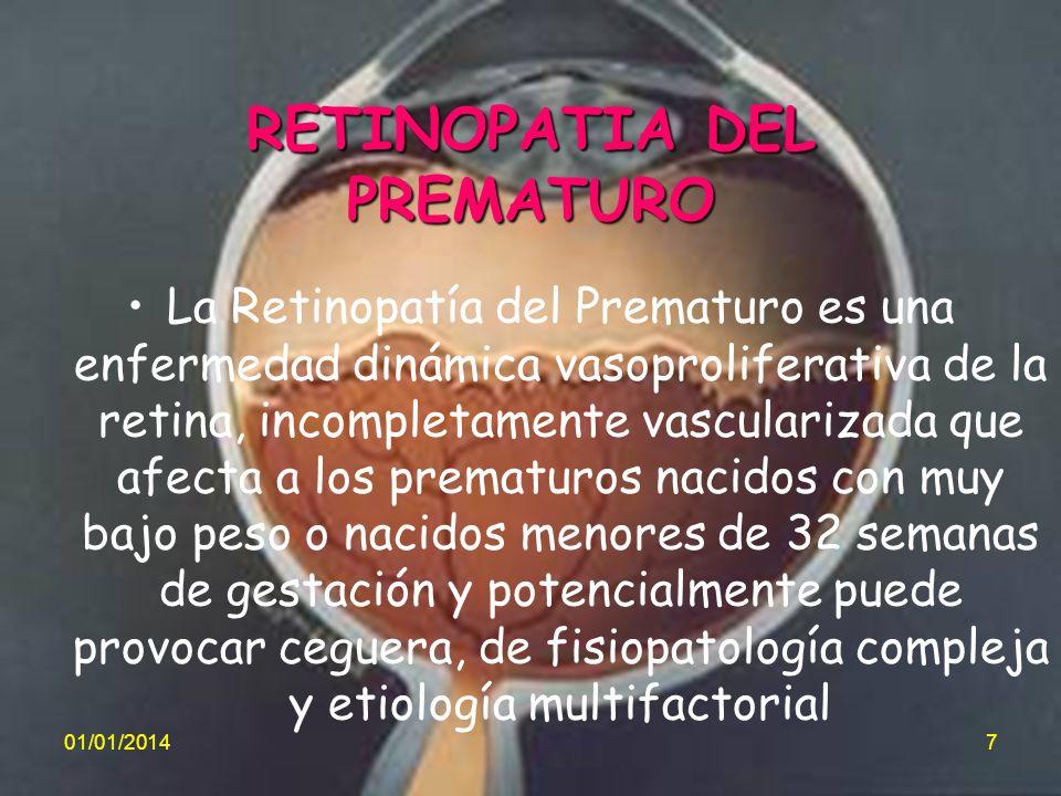 RETINOPATIA DEL PREMATURO La Retinopatía del Prematuro es una enfermedad dinámica vasoproliferativa de la retina, incompletamente vascularizada que af