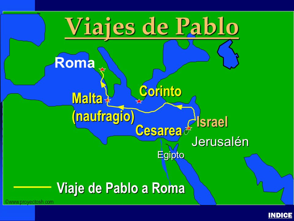 Paul- Journey to Rome Pauls Journey to Rome INDICE Click to add textClick to add text Israel Viaje de Pablo a Roma Jerusalén Egipto Viajes de Pablo Ro