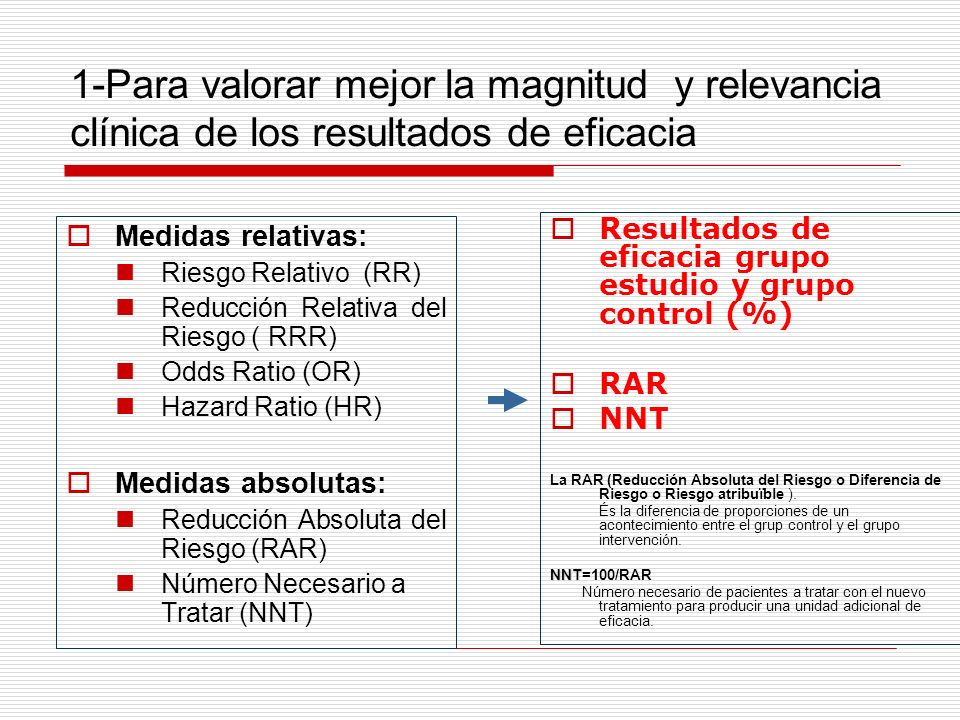 1-Para valorar mejor la magnitud y relevancia clínica de los resultados de eficacia Medidas relativas: Riesgo Relativo (RR) Reducción Relativa del Riesgo ( RRR) Odds Ratio (OR) Hazard Ratio (HR) Medidas absolutas: Reducción Absoluta del Riesgo (RAR) Número Necesario a Tratar (NNT) Resultados de eficacia grupo estudio y grupo control (%) RAR NNT La RAR (Reducción Absoluta del Riesgo o Diferencia de Riesgo o Riesgo atribuïble ).