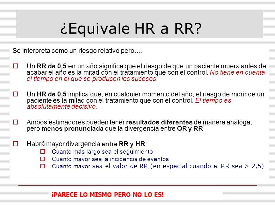 ¿Equivale HR a RR.Se interpreta como un riesgo relativo pero….