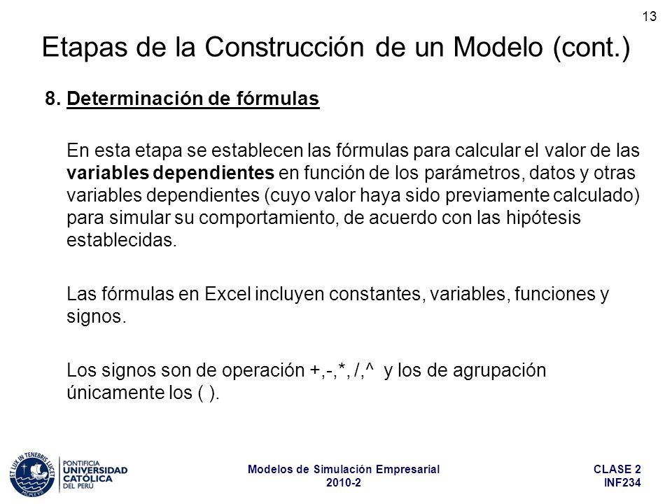 CLASE 2 INF234 Modelos de Simulación Empresarial 2010-2 13 En esta etapa se establecen las fórmulas para calcular el valor de las variables dependient