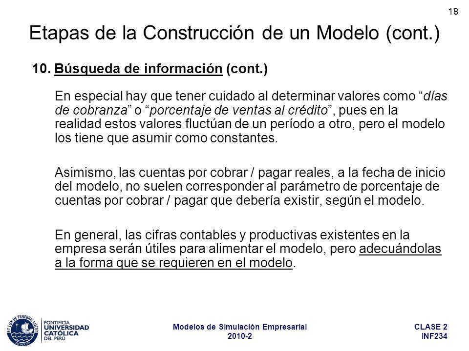 CLASE 2 INF234 Modelos de Simulación Empresarial 2010-2 18 En especial hay que tener cuidado al determinar valores como días de cobranza o porcentaje