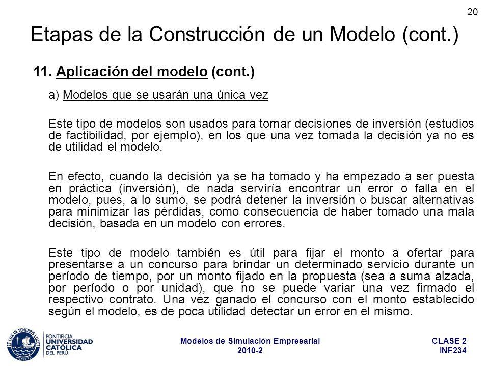 CLASE 2 INF234 Modelos de Simulación Empresarial 2010-2 20 a) Modelos que se usarán una única vez Este tipo de modelos son usados para tomar decisione