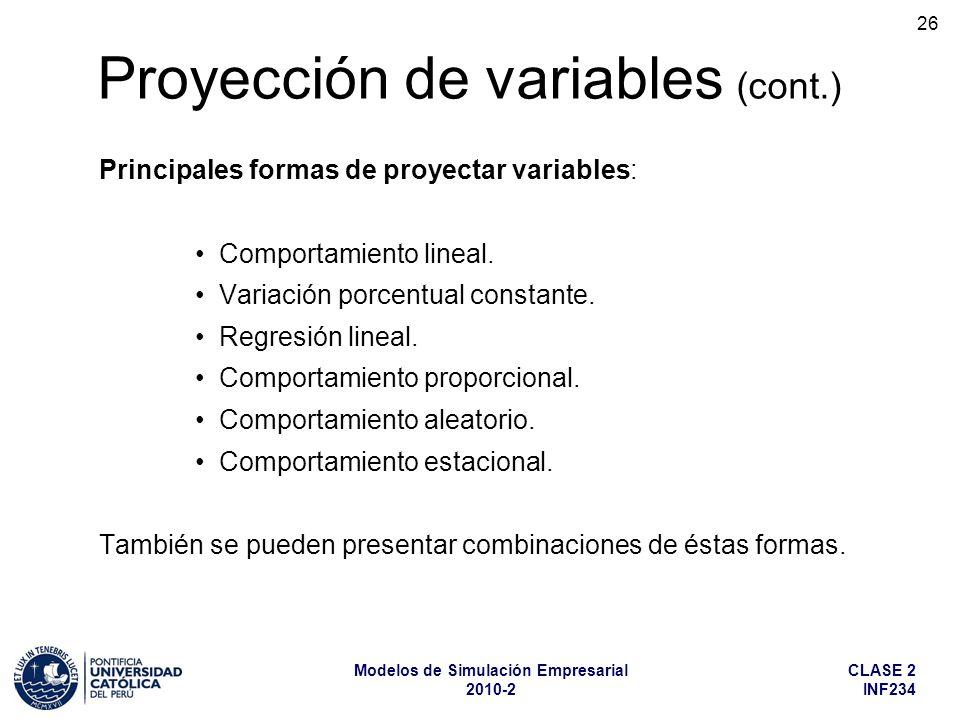 CLASE 2 INF234 Modelos de Simulación Empresarial 2010-2 26 Principales formas de proyectar variables: Comportamiento lineal. Variación porcentual cons