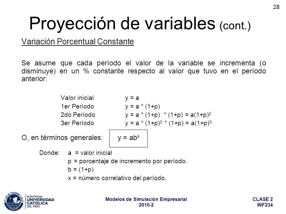 CLASE 2 INF234 Modelos de Simulación Empresarial 2010-2 28 Variación Porcentual Constante Se asume que cada período el valor de la variable se increme