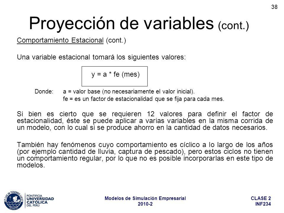 CLASE 2 INF234 Modelos de Simulación Empresarial 2010-2 38 Comportamiento Estacional (cont.) Una variable estacional tomará los siguientes valores: y