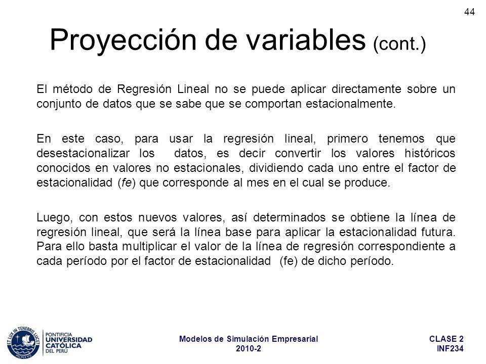 CLASE 2 INF234 Modelos de Simulación Empresarial 2010-2 44 El método de Regresión Lineal no se puede aplicar directamente sobre un conjunto de datos q
