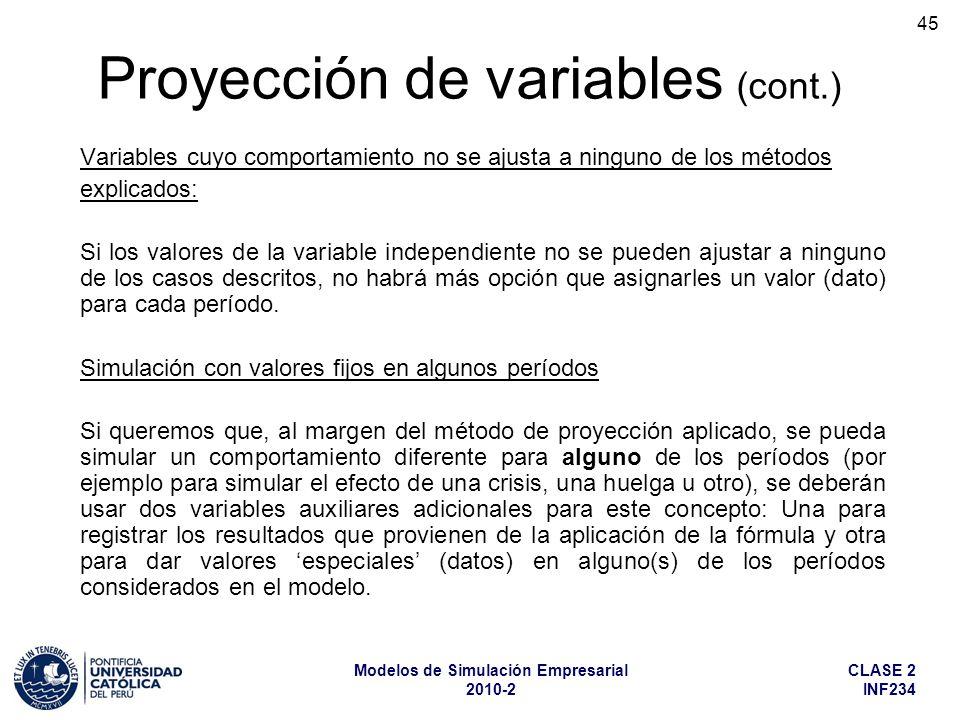 CLASE 2 INF234 Modelos de Simulación Empresarial 2010-2 45 Variables cuyo comportamiento no se ajusta a ninguno de los métodos explicados: Si los valo