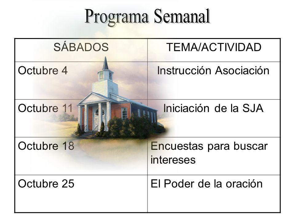 SÁBADOSTEMA/ACTIVIDAD Octubre 4 Instrucción Asociación Octubre 11 Iniciación de la SJA Octubre 18Encuestas para buscar intereses Octubre 25El Poder de la oración