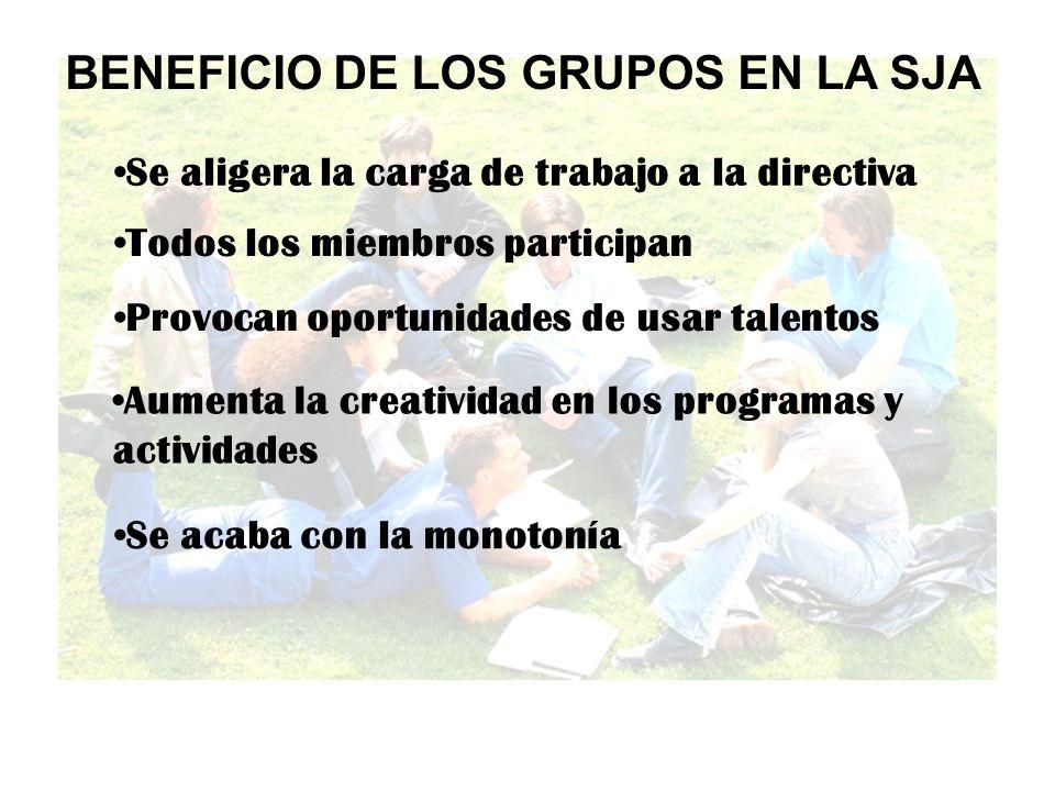BENEFICIO DE LOS GRUPOS EN LA SJA Se aligera la carga de trabajo a la directiva Todos los miembros participan Provocan oportunidades de usar talentos Aumenta la creatividad en los programas y actividades Se acaba con la monotonía