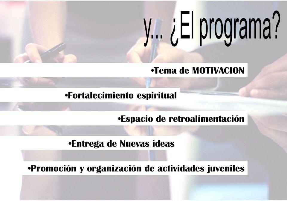Tema de MOTIVACION Fortalecimiento espiritual Espacio de retroalimentación Entrega de Nuevas ideas Promoción y organización de actividades juveniles