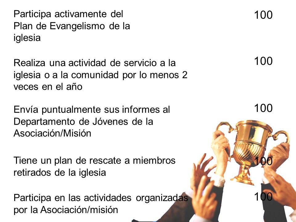 Participa activamente del Plan de Evangelismo de la iglesia Realiza una actividad de servicio a la iglesia o a la comunidad por lo menos 2 veces en el año Envía puntualmente sus informes al Departamento de Jóvenes de la Asociación/Misión Tiene un plan de rescate a miembros retirados de la iglesia Participa en las actividades organizadas por la Asociación/misión 100
