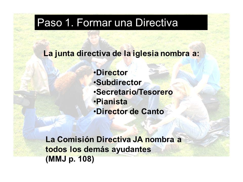 La directiva: Director Subdirector Secretario/Tesorero Pianista Director de Canto Secretario Devocional Secretario de Act.