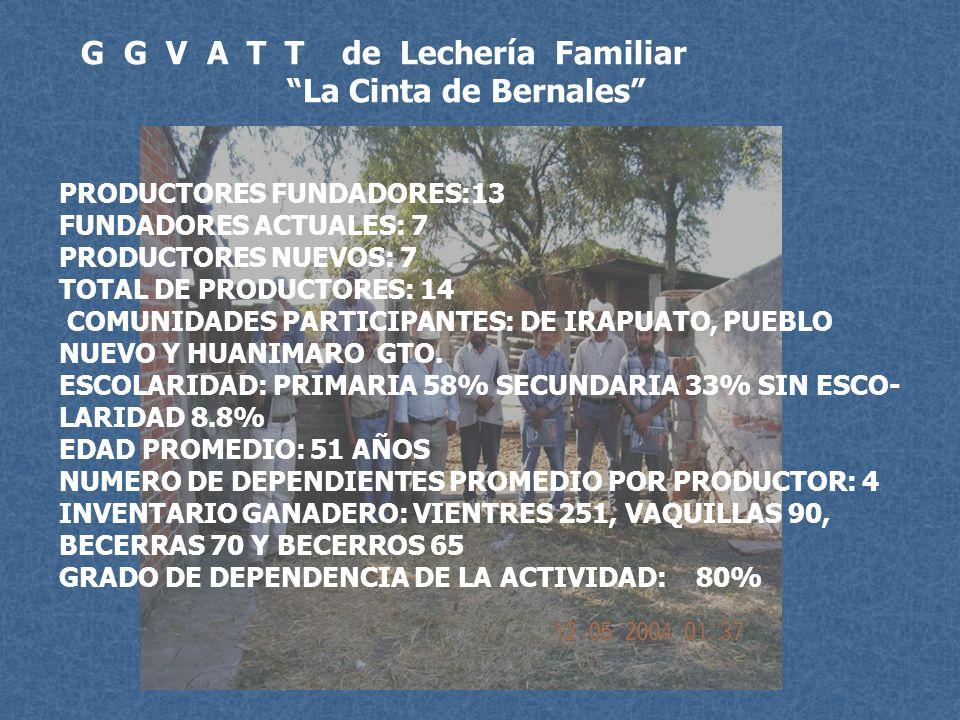 G G V A T T de Lechería Familiar La Cinta de Bernales PRODUCTORES FUNDADORES:13 FUNDADORES ACTUALES: 7 PRODUCTORES NUEVOS: 7 TOTAL DE PRODUCTORES: 14